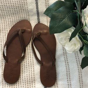 J. Crew Brown Leather Thong Sandals